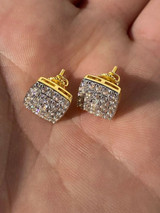 Real Solid 925 Silver Iced Diamond Earrings Screw Back 14k Gold Finish Square