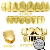Real 925 Sterling Silver Gold Finish GRILLZ - Hip Hop Grills 6 8 Or Single Teeth