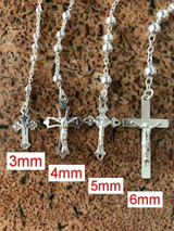 Italian Rosary Beads Solid 925 Sterling Silver Men's Women's Cross Chain Rosario