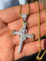 "Mens HIP HOP Solid 925 Silver Super Iced Diamond Nail Cross 2"" Pendant 14k Gold"