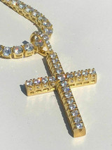 Men's Iced 14k Gold Over Real Solid 925 Silver Tennis Cross ICY Diamond W. Chain