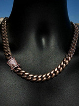 "Men's Miami Cuban Link 20"" Choker Chain 14k Rose Gold Over Stainless Steel 12mm"