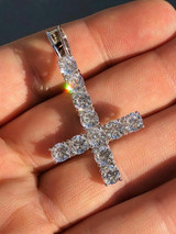 Inverted Cross Upside Down Real Solid 925 Sterling Silver Tennis Chain Diamond