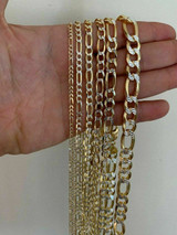 14k Gold & Solid 925 Sterling Silver Figaro Link Chain Two Tone Diamond Cut