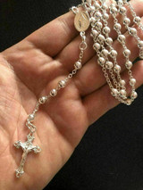 """Rosario Rosary Beads Necklace Chain 24"""" Solid 925 Sterling Silver Italy Unisex"""