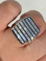 Mens REAL Solid 925 Sterling Silver Iced Diamond Baguette Ring Hip Hop Big Pinky