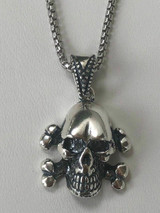 "Solid 925 Sterling Silver Pirate Skull Crossbones Mens Punk Pendant W. 22"" Chain"