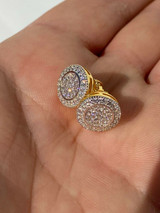 Real Solid 925 Silver Iced CZ Hip Hop Men's Earrings Big Studs 14k Gold Finish