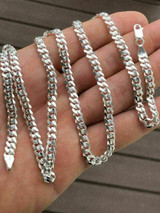 Solid 925 Sterling Silver Mens 5mm Tight Link Miami Cuban Link Chain Heavy ITALY