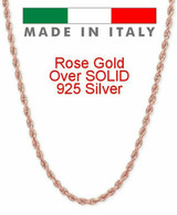 Rope Chain 14K Rose Gold Over Solid 925 Silver MADE IN ITALY Men's Women's 2mm