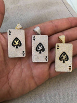 Solid 925 Sterling Silver 14k Gold Ace of Spades Poker HIP HOP ICY Diamond Piece