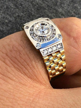 Men 10k Gold & Real Solid 925 Sterling Silver Presidential Watch Band Ring Pinky