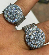 Solid 925 Silver Men's Large Round 5ct Iced CZ Cubic Zirconia Pinky RING HIP-HOP