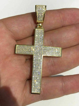 """Men's REAL 14k Yellow Gold Over Solid 925 Silver Large Cross 3ct Diamond 2x1.5"""""""