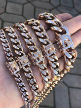 """Men's Miami Cuban Link Chain Rose Gold Over Stainless Steel Choker-30"""" 8-18mm"""