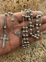 "Rosary Beads Necklace 24"" Solid 925 Sterling Silver Italy Men's Women's Rosario"