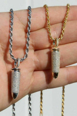 Solid 925 Silver Bullet Iced Stash Pendant W. Rope Chain Mens HIP-HOP Necklace