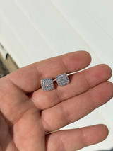 Real Solid 925 Silver Iced Diamond Earrings Screw Back Square Mens Flooded Out