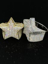 Men's Hip Hop 3D STAR Solid 925 Silver 5ct Diamond Pinky RING 14k Gold Real ICED