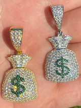 Solid 925 Silver Hip Hop Money Bag Emoji Pendant Necklace Iced Dollar Sign