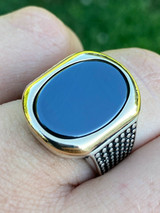 Solid 10k Gold & 925 Sterling Silver Black Onyx Mens LARGE Ring Sizes 7-13 Pinky