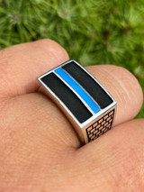 Solid 925 Sterling Silver Ring Blue Lives Matter Thin Blue Line Police Detective