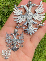 Solid 925 Silver Two Double Headed Eagle Pendant Necklace Albania Kosova Russian