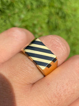 Men's 14k Gold Over Solid 925 Silver Black Onyx Ring Pinky Anillo Para Hombre