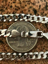 """6mm Flat Men's Miami Cuban Link Chain Solid 925 Silver ITALY All Lengths 18-30"""""""