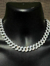 "Solid 925 Sterling Silver 15mm Miami Cuban Chain 18"" 20"" Choker 80ct Man Diamond"