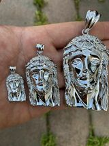 0.1ct REAL VS Natural Diamond Solid 925 Sterling Silver Jesus Piece HIP HOP Iced