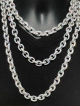 Solid 925 Sterling Silver Mens Thick Heavy Rolo Chain Iced Diamonds Flooded Out