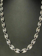 Solid 925 Silver Men's Mariner Puffed Gucci Link Chain Icy Diamond 12mm Necklace