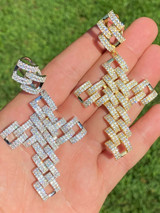 Real 925 Silver Large Hip Hop Men's Prong Cuban Cross Pendant Iced Necklace Gold