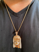 14k Rose Gold Over Real 925 Silver Hip Hop Jesus Piece Pendant Iced Men Necklace
