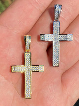 """Solid 925 Sterling Silver 1"""" Iced Diamond Cross Pendant - Gold Hip Hop Necklace"""