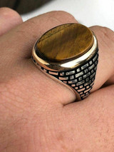 Solid 10k Gold & 925 Sterling Silver Tiger's Eye Mens Ring Size 7-13 Pinky