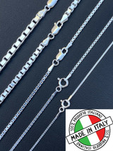"Real Solid 925 Sterling Silver Box Chain 1-4mm Necklace Men Ladies 16-30"" ITALY"