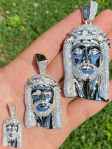 Real 925 Sterling Silver Icy Jesus Piece Flooded Out Pendant Iced Mens Necklace