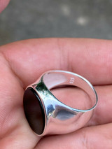 Men's Solid 925 Sterling Silver Real Black Onyx Signet Ring Sz 7-13 Pinky Large