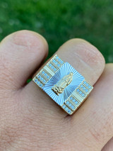 Mens Hip Hop Real 14k Yellow Gold Over Solid 925 Silver Virgin Mary Ring Iced