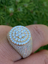 14k Gold Over Solid 925 Sterling Silver Men's Iced Diamond Pinky Ring HIP-HOP