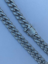 Solid 925 Sterling Silver 12mm Baguette Diamond Miami Cuban Link Chain Necklace