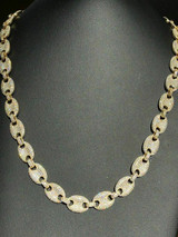 Men's Mariner Gucci Link Chain ICED Man Diamond 14k Gold Over 925 Silver 12mm