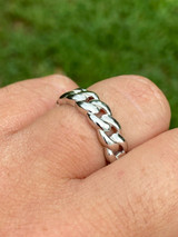 Solid 925 Sterling Silver Men's Ladies 6mm Wedding Band Cuban Link Ring Sz. 6-13