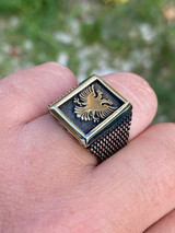 Mens 14k Gold & Real Solid 925 Sterling Silver Albanian Double Headed Eagle Ring