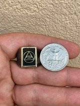 Mens 14k Gold & Real Solid 925 Silver All Seeing Eye Of Providence Masonic Ring