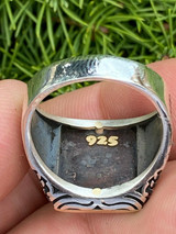 Mens 14k Gold & Real Solid 925 Sterling Silver Free Mason Masonic Letter G Ring
