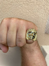 Mens Real 14k Yellow Gold Over Solid 925 Silver Jesus Face Ring Pinky Hip Hop
