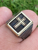 Mens 14k Gold & Real Solid 925 Sterling Silver Christian Cross Ring Oxidized